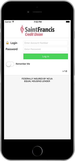 Mobile app login (iPhone)